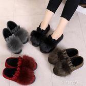 棉鞋女 老北京布鞋女鞋加絨保暖女靴 休閒豆豆鞋學生毛毛鞋千惠衣屋