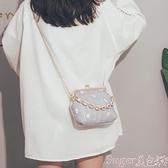 草編包 夏天編織小包包2021新款斜背包韓版時尚側背鍊條包ins百搭草編包 新品