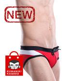 褲碼_性感低腰三角拼接設計撞色前繫帶三角泳褲【偏小一碼】_紅色【KAQ002】