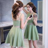 洋裝夜場女款裙子超仙洋裝小禮服顯瘦短款性感吊帶心機漏背網紗連身裙