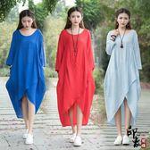 大尺碼洋裝文藝寬鬆顯瘦棉麻復古純色長款連身裙女 618降價