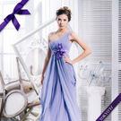 東京衣服-夢幻花束 單斜間花朵編織垂墜 抓皺顯瘦雪紡長禮服 新娘 伴娘 酒會 藕紫