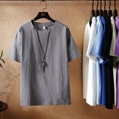 短袖t恤男士夏季亞麻純色半袖圓領男生上衣服寬鬆五分袖棉麻體恤 果果生活館