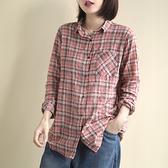 純棉格子襯衫 翻領長袖襯衫 單排扣上衣/3色-夢想家-0214