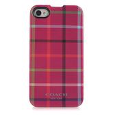 [破盤出清價]COACH多色格紋iPhone4/4S手機殼保護殼(桃紅)192770