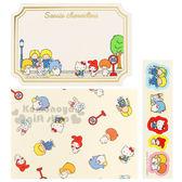 〔小禮堂〕 Sanrio 造型留言卡《5入.s.金邊.多角色》附貼紙 4901610-26699
