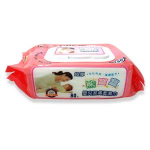 熊寶寶嬰兒潔膚柔濕巾含蓋(超厚型 80枚入)☆整箱購買請選24入 平均每包只要$65☆