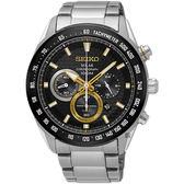 SEIKO Criteria 太陽能酷炫計時碼錶-黑X金圈