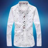 男式襯衫YMV夏季男士襯衫男長袖修身型薄款韓版時尚印花襯衣潮青年男裝 可然精品