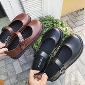大頭鞋女韓版學生原宿韓國娃娃復古可愛圓頭皮帶扣ulzzang小皮鞋 米娜小鋪