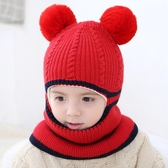 女童帽子秋冬防風一體毛線帽子保暖圍脖小孩男寶寶針織帽 萬客居