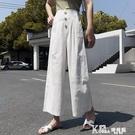 棉麻長褲 2020新款夏裝棉麻休閒褲女裝直筒寬鬆寬管褲高腰顯瘦垂感九分褲子