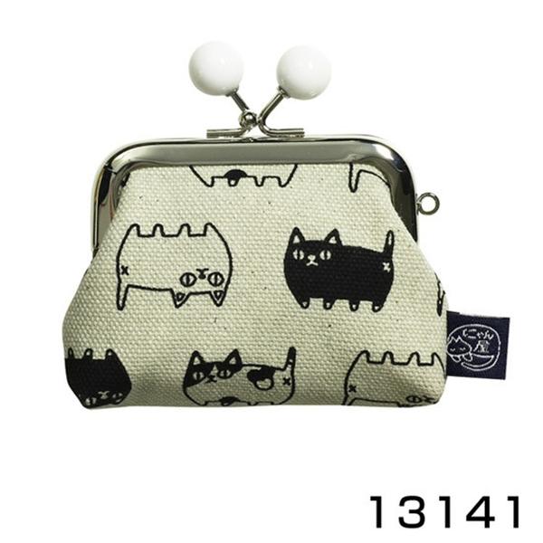 【日本製】 貓帆布系列 萬用零錢口金包 貓咪三兄弟圖案 灰色 SD-7066 - 日本製