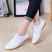 新款秋季英倫風小皮鞋女平底平跟百搭舒適媽媽鞋真皮單鞋女鞋 新年禮物