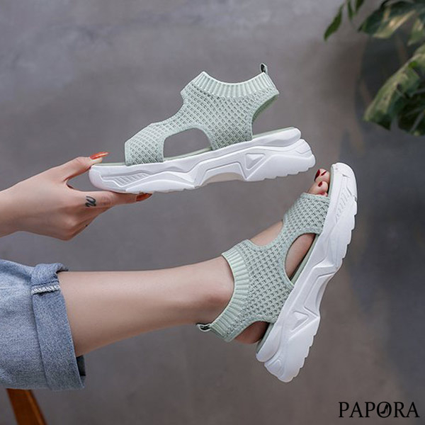 PAPORA運動風彈性布面厚底休閒涼鞋KK3473