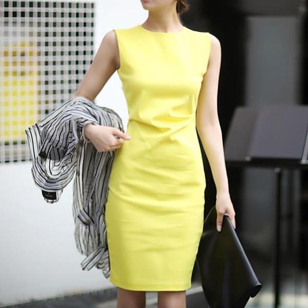 無袖洋裝  連身裙韓版ol通勤白領職業裝氣質修身包臀無袖背心裙