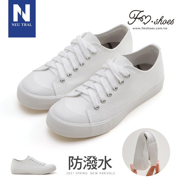 休閒鞋.防潑水無印風帆布鞋-(白)-大尺碼-FM時尚美鞋-NeuTral.FUNKY