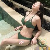 加厚三點式比基尼泳裝分體泳衣女性感鋼托小胸聚攏【奇妙商鋪】