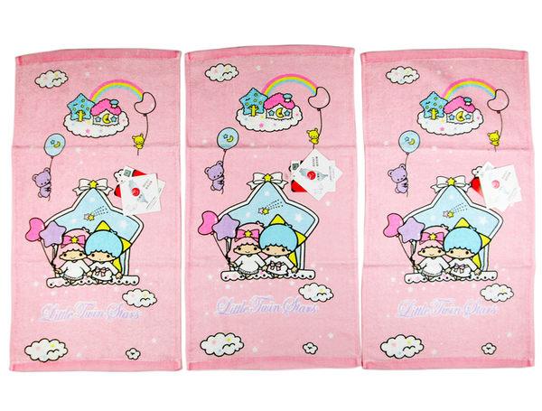 【卡漫城】 雙子星 小毛巾 三條一組 汽球 粉 ㊣版 Kikilala 童巾 純棉 台製 Twin Stars 毛巾 星星