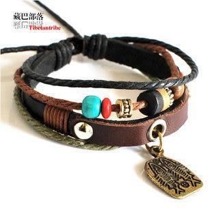 藏銀桃木繩編藏文皮手鏈
