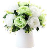 迷妝 玫瑰仿真花插花套裝北歐客廳餐桌裝飾花藝絹花假花盆栽擺件第七公社