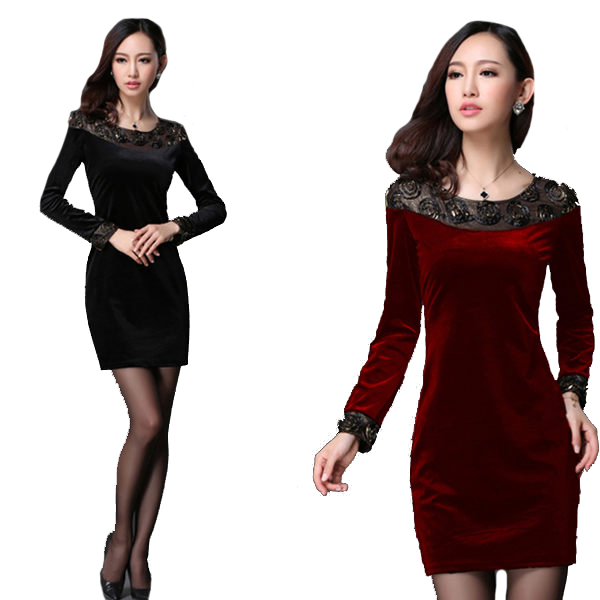 喜慶蕾絲圓領拼接金絲絨合身長袖洋裝 (黑 酒紅)二色售