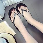 人字拖女夏季時尚韓版防滑簡約夾腳拖厚底平跟外穿海邊沙灘涼拖鞋   mandyc衣間