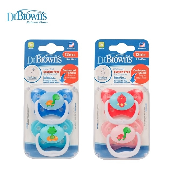美國Dr Brown  12個月以上PreVent功能性人體工學安撫奶嘴 兩入裝2組(共4入)