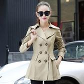 翻領大衣-氣質顯瘦修身雙排扣女風衣外套4色73iz52[時尚巴黎]