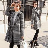 毛呢大衣 呢子大衣【全館滿千折百】毛呢外套女中長款韓版修身格子呢子大衣女