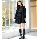 H2O 秋 60年代A字型復古風褶襉短洋裝 - 黑/卡色 #1634019