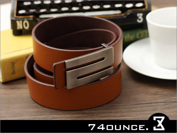 74盎司[Z-088] 時尚簡約風格 高質感皮帶(黑.咖啡.棕.白色)(皮帶)