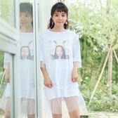 連身裙-網紗韓版時尚休閒透視女連衣裙73rx38[巴黎精品]