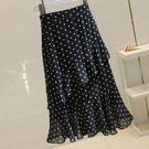蛋糕裙 黑色波點半身裙子女夏圓點雪紡荷葉邊中長款蛋糕裙E346-Ballet朵朵