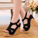 厚底涼鞋 2021潮流女式涼鞋波西米亞明族風厚底超高跟坡跟鬆糕英倫時尚女鞋