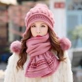 帽子女冬天韓版潮兔毛帽貝雷帽保暖針織毛線帽秋冬時尚新款護耳帽  無糖工作室
