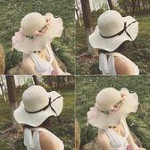 雙12購物節   草帽子女夏天韓版潮花環海邊沙灘帽太陽防曬大沿帽休閒百搭遮陽帽   mandyc衣間