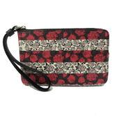 【COACH】燙印LOGO PVC皮革滿版玫瑰手拿包零錢包(紅/灰)
