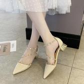 涼鞋仙女風2020春季新款一字扣帶透明性感淺口包頭粗跟鉚釘高跟鞋