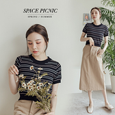 上衣 Space Picnic|細條紋針織上衣-3色(現貨)【C21073042】