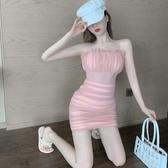 洋裝 夏季2020年新款修身性感抹胸收腰褶皺紗網裙子包臀小吊帶連衣裙女 歐歐