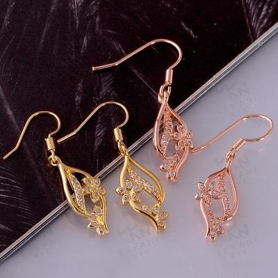 耳環 玫瑰金純銀 鑲鑽-精緻復古典雅迷人生日情人節禮物女飾品2色73bu78【時尚巴黎】