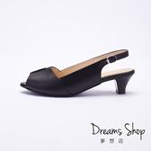 大尺碼女鞋 夢想店 MIT台灣製造專櫃款真皮魚口低跟涼鞋5.5cm(41-44偏小)【XJ126-26】黑牛