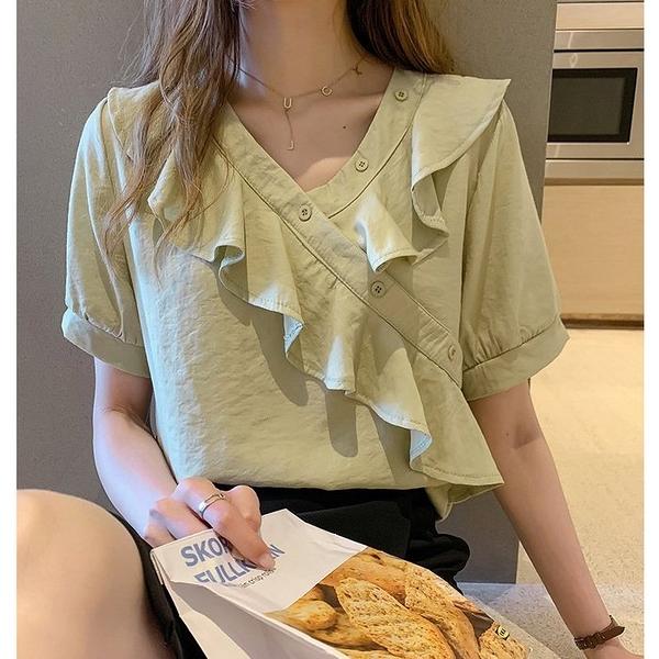 NiCELIFE 【C8261U】2020新款時尚氣質V領雪紡衫女短袖很仙的荷葉邊上衣寬松洋氣襯衣