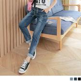OB嚴選《BA3163-》質感刷色抽腰綁帶造型牛仔長褲.3色--適 S~XL