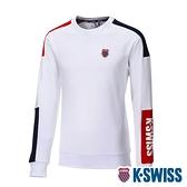 K-SWISS Colors Panel Sweatshirt圓領長袖上衣-男-白/藍/紅