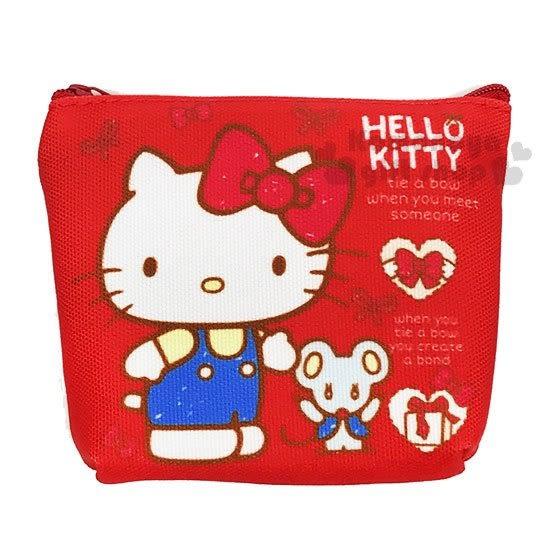 〔小禮堂﹞Hello Kitty 帆布零錢包《紅.站姿.老鼠.禮物》收納包.萬用包 4712937-66918