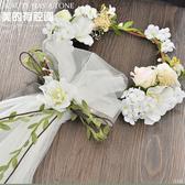 新款新娘頭飾韓式森系花環頭紗婚禮影樓拍照頭花髮飾禮服配飾   雙十二全館免運