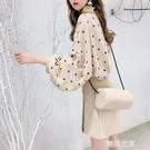 設計感小眾波點雪紡襯衫復古港味衣服女2020新款春季上衣輕熟襯衣『潮流世家』