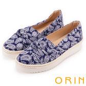 ORIN 引出度假氣氛 表面特殊布料休閒平底鞋-藍色
